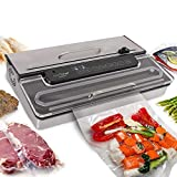 NutriChef PKVS50STS Commercial Grade Vacuum Sealer Machine-400W Automatic Double Piston Pump Air Machine Meat Packing Storage Preservation Sous Vide w/Dry Wet Seal, Vac Roll Bags, Extra Large, Silver