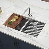 Ruvati RVH8350 33-inch Workstation Ledge 50/50 Double Bowl Undermount 16 Gauge Stainless Steel Kitchen Sink