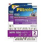 Filtrete 20x25x4, AC Furnace Air Filter, MPR 1550 DP, Healthy Living Ultra Allergen Deep Pleat, 2-Pack (actual 19.88 x 24.63 x 4.31)
