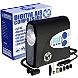 PI Auto Air Compressor - Portable, 12V, Digital Tire Inflator w/Pressure Gauge, Auto-Shut Off and LED Light to Pump Bike or Car Tires and Camping Equipment