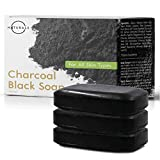 O Naturals Activated Charcoal Black Bar Soap Peppermint Oil Detoxifying Face Body Hand Soap Organic Shea Butter. Vegan 100% Natural Soap Helps Acne Blemishes Men & Women Triple Milled 3Pk 12 oz Total