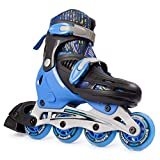 New Bounce Adjustable Inline Skates for Kids - 4 Wheel Blades Roller Skates for Boys, Girls, Teens, and Young Adults Outdoor Rollerskates for Beginners & Advanced | Blue (Small (12-2 US))