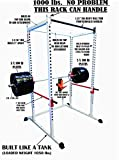 """TDS Mega 1000 lb Rated White Power Squat Rack, 1.25"""" Dia Professionally knurled Front Chinning Bar, Provision to add LAT Attachment, Pull up/Chip up bar and More!"""