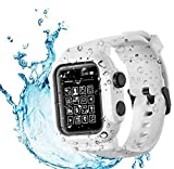 Compatible Apple Watch Series 6 5 Waterproof Case , Tomcrazy IP68 Full Sealed Shockproof Cover with Soft Silicone Sport Watch Strap Band Protector Case for iwatch 44mm SE/4 White