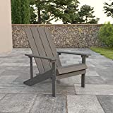 Flash Furniture Charlestown All-Weather Adirondack Chair in Gray Faux Wood
