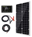 Topsolar Solar Panel Kit 30W 12V Monocrystalline Battery Charger Maintainer with 10A Charge Controller + Extension Cable for 12 Volt Car RV Vehicle Marine Boat Home Off Grid System