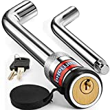 Elemake Trailer Hitch Lock 1/2' and 5/8' Hitch Pin Receiver Lock Brass Core Locking Mechanism, 3'' & 3-1/2' Effective Length Fits Class I, II, III, IV, V Hitches