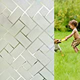 Coavas Window Film Privacy Static Clings Herringbone Simple Geometric Glass Film Frosted Window Stickers for Working from Home Office Hospital RV 35-inch by 78.7-inch