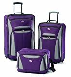 American Tourister Fieldbrook II Softside Upright Luggage Set, Purple/Grey, 3-Piece (tote/21/25)