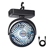 REENUO 5000mAh Camping Fan with LED Lights, 40 Hours Max Working Time Tent Fan with Hanging Hook, Rechargeable Battery Operated Desk Fan for Home & Office
