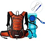 MIRACOL Hydration Backpack with 2L Water Bladder, Thermal Insulation Pack Keeps Liquid Cool up to 4 Hours, with Long Tube Brush, Prefect Outdoor Gear for Hiking, Cycling (Deep Orange)