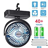REENUO 4400mAh Camping Fan with LED Lights,40 Hours Max Working Time Tent Fan with Hanging Hook,Rechargeable Battery Operated Desk Fan for Home & Office
