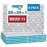 Aerostar 20x25x1 MERV 11 Pleated Air Filter, AC Furnace Air Filter, 6 Pack (Actual Size: 19 3/4'x 24 3/4' x 3/4')