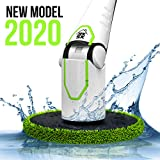 Spin Scrubber, Electric Mop with LED Display, Powerful 2 Speed Motor, Cordless Household Extension Handle, Shower Cleaner, Including Scrubber Brushes, Mops and Storage Rack