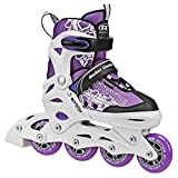 Roller Derby Stryde Girl's Adjustable Inline Skates, Small (11J-1), White/Purple