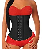 YIANNA Waist Trainer for Women Underbust Latex Sport Girdle Corsets Cincher Hourglass Body Shaper, (Black, XS)