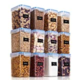 Vtopmart Airtight Food Storage Containers 12 Pieces 1.5qt / 1.6L- Plastic BPA Free Kitchen Pantry Storage Containers for Sugar, Flour and Baking Supplies - Dishwasher Safe - Include 24 Labels, Blue