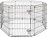 Amazon Basics Foldable Metal Pet Dog Exercise Fence Pen With Door Gate - 60 x 60 x 30 Inches, Black
