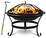 Sorbus Fire Pit Bowl Table with Storage Shelf Legs, Mesh Cover, Log Grate, and Poker Tool, Great BBQ Grill for Outdoor Patio, Backyard, Camping, Picnic, Bonfire, etc (Fire Pit Bowl Table)
