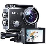 APEMANA77ActionCamera4KWiFiWeb Cam 16MP SportsCam30M WaterproofUnderwaterCamcorder with2.4GRemoteControl and 20AccessoriesKits