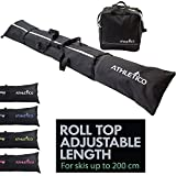 Athletico Ski Bag and Ski Boot Bag Combo - Ski Bags for Air Travel - Unpadded Snow Ski Bags Fit Skis Up to 200cm - For Men, Women, Adults, and Children (Black with White Trim)