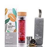 Bamboo Brew Glass Travel Tumbler with Infuser & Strainer 16oz | Borosilicate Glass Coffee & Tea Flask | Vacuum Insulated | Beautiful Packaging