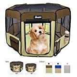JESPET 61' Pet Dog Playpens, Portable Soft Dog Exercise Pen Kennel with Carry Bag for Puppy Cats Kittens Rabbits, Brown