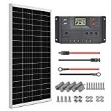 WEIZE 100 Watt 12 Volt Solar Panel Starter Kit, High Efficiency Monocrystalline PV Module for Home, Camping, Boat, Caravan, RV and Other Off Grid Applications