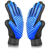 ASENKU Pet Grooming Glove Comfortable Efficient Pet Hair Remover Mitt Perfect for Cats & Dogs with Long or Short Fur Breathable Washing Deshedding Massage Tool, One Pair