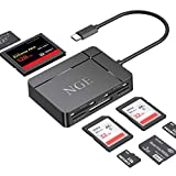 USB C Card Reader, NGE 7 in 1 Type c Multi-Card Reader Hub, Plug&Play,5Gbps Read 5 Cards Simultaneously for Micro SD, TF, SDHC, SDXC, MMC, Micro SDXC, Micro SDHC, MS, UHS-I, CF, CFI