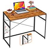 "Mr IRONSTONE 31"" Folding Computer Desk, Small Writing Desk Easy Assembly with 10 Hooks, Foldable Metal Frame, Writing Workstation Laptop Table for Home Office (Vintage)"