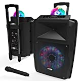Wireless Portable PA Speaker System - 700 W Battery Powered Rechargeable Sound Speaker and Microphone Set with Bluetooth MP3 USB Micro SD FM Radio AUX 1/4' DJ lights - For PA / Party - Pyle PSUFM1280B