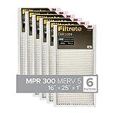 Filtrete 16x25x1, AC Furnace Air Filter, MPR 300, Clean Living Basic Dust, 6-Pack (exact dimensions 15.69 x 24.69 x 0.81)