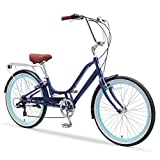 sixthreezero Relaxed Body 7-Speed Recumbent Comfort Bike, 26' Wheels/ 13' Frame, Navy Blue with Brown Seat and Grips