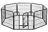 BestPet Pet Playpen 8 Panel Indoor Outdoor Folding Metal Protable Puppy Exercise Pen Dog Fence,24',32',40' (32', Black)