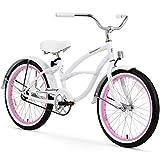 Firmstrong Urban Girl Single Speed Beach Cruiser Bicycle, 20-Inch, White w/ Pink Rims