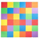 Non-Toxic Children Play & Exercise Mat, 36 Tiles (12'x12') - 3/8 Inch Thick Puzzle Play Mat for Kids & Toddlers, 6 Vibrant Colors, 36 sqft