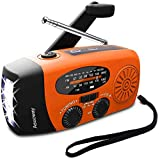 Emergency Radio, Asucway Portable Radio Am/Fm Hand Crank Solar Radio, NOAA Weather Radio with LED Flashlight, 1000mAh Power Bank for iPhone/Smart Phone Charger