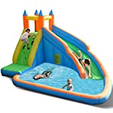Costzon Inflatable Water Slide, Slide Bouncer Water Pool with Long Slide, Climbing Wall, Including Oxford Carry Bag, Stakes, Castle Bounce House (Without Air Blower)