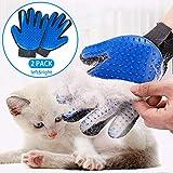 STARROAD-TIM Pet Grooming Glove Hair Remover Brush Gentle Deshedding Efficient Pet Mitt Pet Massage Gloves Left & Right Hand Draw Dogs Cats Horses Long Short Fur (1Pair Left & Right Hand (Blue))