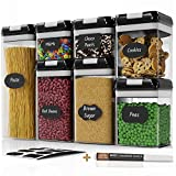 Chef's Path Airtight Food Storage Containers Set - 7 PC Set - Labels - For Kitchen Pantry Organization and Storage - BPA-Free - Clear Plastic Canisters for Flour, Cereal with Improved Lids