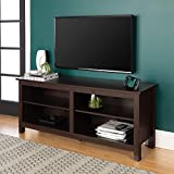 Walker Edison Furniture Minimal Farmhouse Wood Universal Stand for TV's up to 64' Flat Screen Living Room Storage Shelves Entertainment Center, 58 Inch, Espresso