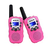 Retevis RT-388 Kids Walkie Talkies, Walkie Talkies for Girls 22CH with Backlit LCD Flashlight Two Way Radio Kids Toy,Gifts for 4-12 Year Old Girls to Camping,Outside Toys(2 Pack, Pink) (CAA7027E)