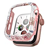 SURITCH Case for Apple Watch Series 6/5/4/SE 40mm with Built in Tempered Glass Screen Protector HD Clear Shockproof Slim Bumper Hard PC Full Protective Cover for iwatch Series 6/5/4/SE(Rose Marble)