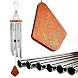 Nature's Melody Premiere Grande Tunes Wind Chimes – Outdoor Windchime with 6 Tubes Tuned to E Pentatonic Scale, Rustproof Aluminum, Beech Wood & S Hook Hanger for Sympathy, Memorial Gift or Zen Garden