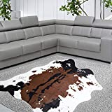 Yincimar Faux Cowhide Rug Brown and White 55'x63' Cow Print Area Rug Cut Animal Hide Carpet for Living Room,Nursery,Home Office Decorating Kids Room