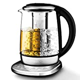 Aicook Electric Tea Kettle 1.7L Glass Teapot with One Touch Temperature Control, Food Grade Stainless Steel Inner Lid, Infuser & Bottom, 120min Keep Warm & Boil Dry Protection, BPA free