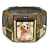 JESPET 45' Pet Dog Playpens, Portable Soft Dog Exercise Pen Kennel with Carry Bag for Puppy Cats Kittens Rabbits, Brown