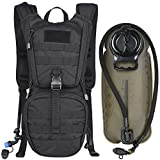 MARCHWAY Tactical Molle Hydration Pack Backpack with 3L TPU Water Bladder, Military Daypack for Cycling, Hiking, Running, Climbing, Hunting, Biking (Black)