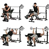 660lbs Multi-Function Olympic Weight Bench, Adjustable Fitness Workout Bench and Barbell Rack Set with Preacher Curl, Leg Developer for Gym Home Office [US Stock]